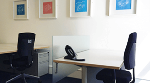 Fully equipped workstations at Blue Square Offices.